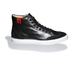 Black High-top Leather Sneakers