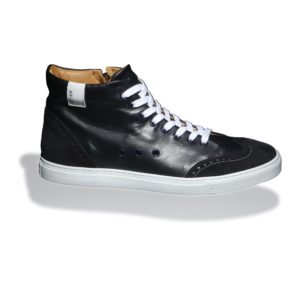 Blue High-top Leather Sneakers