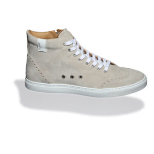 Ivory High-top suede sneakers