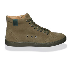 Olive High-top suede sneakers